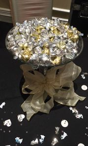 Candy Centerpieces using Kisses and Gold Ribbons