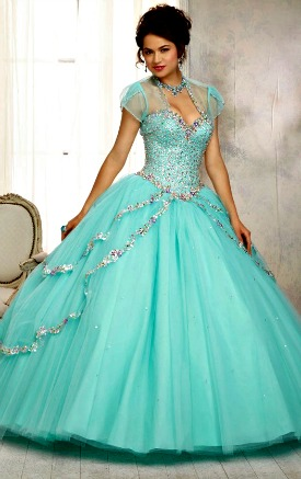 Colored wedding dresses Aqua with Silver
