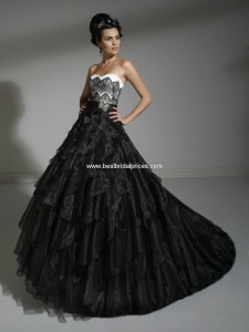 Colored wedding dresses of black and white