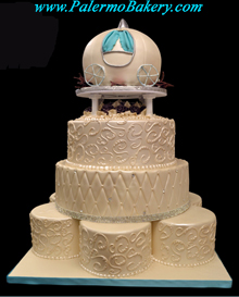 Disney Wedding Cake, Fondant Cinderella Coach as the final layer of this beautiful Wedding Cake