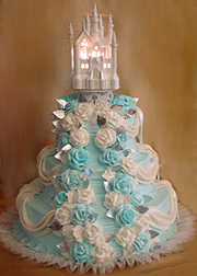 Disney Wedding Cakes, White and baby blue roses adorn this lovely Wedding Cake