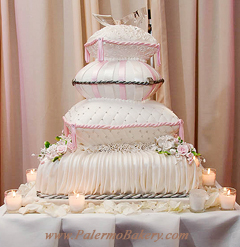 Disney Wedding Cakes, Four Tier Pillow Cake with a Crystal Pin Wedding Cake
