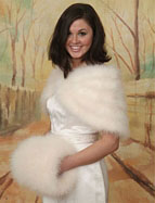 Christmas wedding gowns with fur muff and shawl
