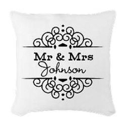 Engraved wedding gifts of pillow with the couples last name