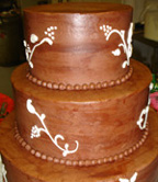 Brown Grooms Wedding Cake - 3  tiers with chocolate