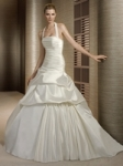 Halter wedding dresses with tight top and wide skirt