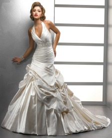 Halter wedding dress with full skirt