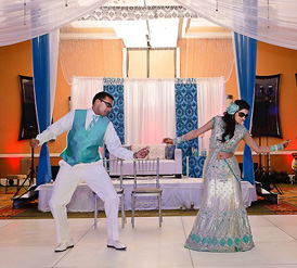Indian Wedding Dresses Blue Sari with bride wearing sunglasse