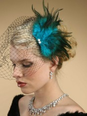 Peacock wedding hair clip with net