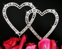 Rhinstone hearts for a pink wedding cake