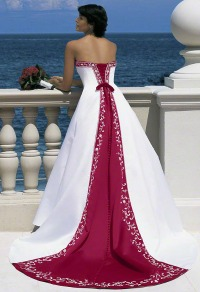 Red wedding dresses white with red down the back
