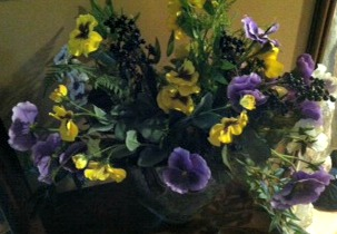 Pansies as a Table Centerpiece