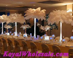 Tall wedding centerpieces with osrich feathers