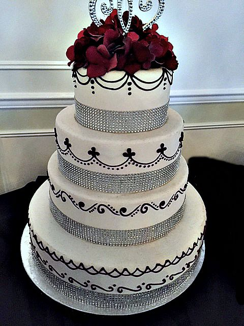 Elegant Wedding Cakes with Rhinestones and scroll work