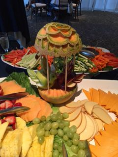 Watermelon Centerpiece Picture with Cheese and Veggies