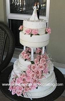 Beautiful tiered cake design with pink roses