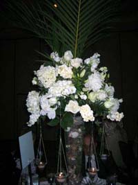 Reception centerpiece with flowers and rocks