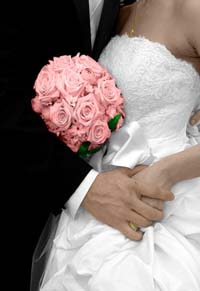 Pink bridal bouquet of roses