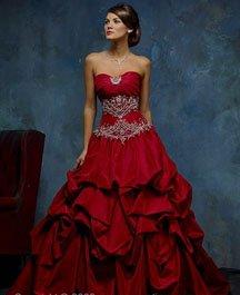 Red wedding dresses with rhinestones