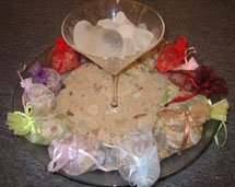 Beach Themed Wedding Centerpieces with sand and shells