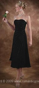 Tea Length Black Wedding Dresses