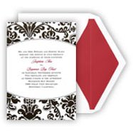 Black Wedding Invitations with a touch of red