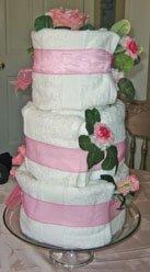 Bridal Shower Centerpiece Ideas of a towel cake