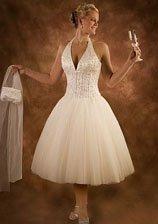 Tea length tulle skirt casual beach wedding dresses