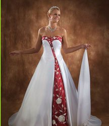 White Christmas wedding dresses with red