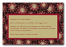 Christmas wedding invitations with red and gold