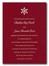 Christmas wedding invitations in red and white with a snowflake