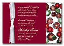 Christmas wedding invitations with Christmas ornaments