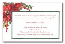 Christmas wedding invitations with red flowers