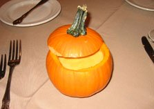 Fall wedding ideas pumpkin soup in a pumpkin