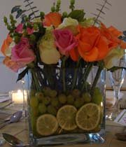 Fresh flowers and Fruit centerpiece