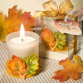 Halloween wedding ideas of favors with a candle and leaves