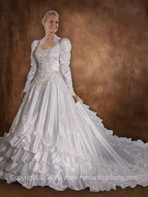 Old fashion wedding dress with long train