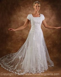 Old fashion wedding dress with lace