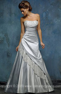 Long silver wedding dresses