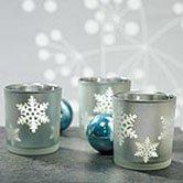 Snowflake wedding theme candle favors