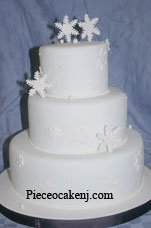 Snowflake wedding theme cake