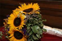 Bridal bouquet of sunflowers