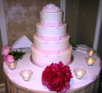 Wedding Cake Ideas for a Beautiful picture of 4 tiered pink icing wedding cake.
