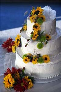 Tropical theme wedding cake designs