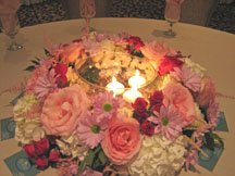 Bridal Shower Centerpiece Ideas of flowers with candle