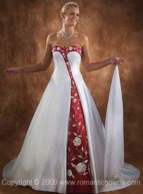 Elegant wedding dress with color