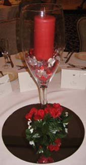 Inexpensive wedding reception ideas candle with rocks
