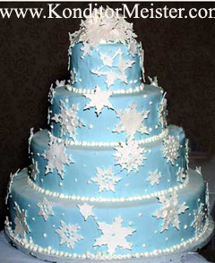 Snowflake wedding theme cakes