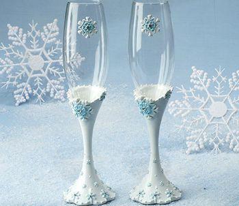 Snowflake Wedding Theme Champagne Glasses