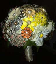 Unique Bridal Bouquets with broaches and pics
